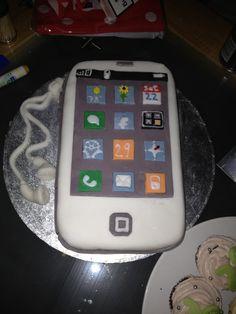 I phone cake with handmade apps.