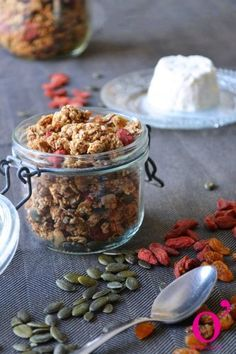 Granola spécial rentrée Granola, Muesli, Julie, Beans, Vegetables, Cake, Food, Morning Breakfast, Sweet Recipes