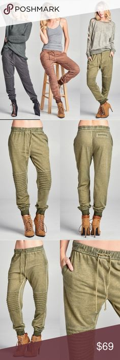Green Moto Jogger Pants  Green jogger pants. Wear casual or dress up with heels.   This item is the Army Green color.   100% Polyester   Price is Firm Pants Track Pants & Joggers