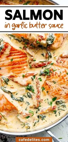Salmon in creamy garlic butter sauce is a restaurant-quality meal that you can make at home! Be sure to leave the juices in the pan after searing your fillets…that's where all of the flavour is! Melt the butter, cook your garlic until fragrant — about one minute to prevent burning while allowing the garlic to release flavour. Serve over pasta, rice, or steamed veggies, and add garlic bread to soak up that creamy sauce! Steam Veggies, Garlic Butter Sauce, Cafe Delites, Creamy Sauce, Easy Food To Make, Love Food, Salmon, Yummy Food, Meals