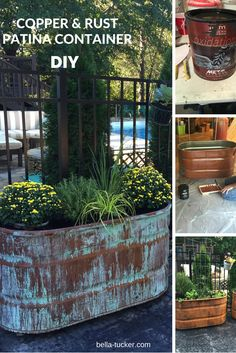 Patina and Rust Container Gardens Copper Patina and Rust Container Gardens - Bella Tucker Decorative Finishes. >> Learn more at the photo linkCopper Patina and Rust Container Gardens - Bella Tucker Decorative Finishes. >> Learn more at the photo link Diy Garden, Garden Beds, Garden Tools, Garden Shade, Backyard Projects, Garden Projects, Organic Gardening, Gardening Tips, Gardening Courses