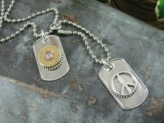 Shotgun Casing Jewelry  Unisex Military Style Dog Tag by thekeyofa, $44.00