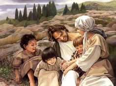 Jesus with children. Beautiful picture of Jesus laughing!  So cool.