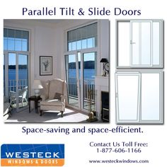 The door sash on these beautiful tilt & slide doors opens parallel to the fixed unit saving space, and large sizes allow for plenty of light! Available in a range of colors including white & ivory, woodgrain finishes, such as Cherry, Fir, Mahogany, Oak and Walnut and a variety of other solid colors - Contact Westeck Windows & Doors Toll Free at: 1-877-606-1166 or visit www.westeckwindows.com