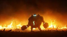 Blitzcrank in flames (Fan art) by Lionsketch