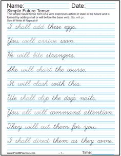 Printable Handwriting Worksheets ⭐ Manuscript And Cursive Worksheets Cursive Writing Practice Sheets, Handwriting Practice Worksheets, Handwriting Analysis, Cursive Handwriting Sheets, Teaching Cursive Writing, Calligraphy Handwriting, Calligraphy Alphabet, Writing Skills, Writing Sentences Worksheets