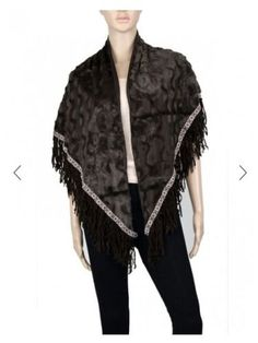 Women-Faxu-Leather-Fur-Triangle-Winter-Shawl-Scarf-P205-One-size-US-SELLER
