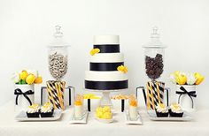 Elegant yellow and black dessert table for a bee themed party Dessert Buffet, Candy Buffet, Dessert Bars, Dessert Tables, Yellow Desserts, Fun Desserts, Wedding Desserts, Wedding Cakes, Wedding Decor
