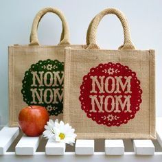 Nom Nom Lunch Bag by Snowdon Design & Craft Kids Lunch Bags, Lunch Box, Apple Prints, Homemade Christmas Gifts, Christmas Presents, Christmas Crafts, Jute Bags, Cute Snowman, Illustration