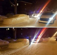 Two cop cars to give a snowcar a ticket. This is in Quebec, Canada.