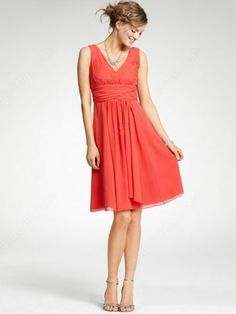 A-line V-neck Chiffon Short/Mini Ruffles Bridesmaid Dresses -£45.69