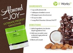 Do you love Almond Joy candy bars? Try a healthier chocolate & almond option with a blend of proteins, digestive support of 7 different fibers, and a boost of superfoods in this delicious Almond Joy Ultimate ProFIT Smoothie! Protein Shakes, Protein Shake Recipes, Smoothie Recipes, Healthy Shakes, Healthy Recipes, Healthy Meals, Yummy Recipes, Protein Mix, Paleo Ideas