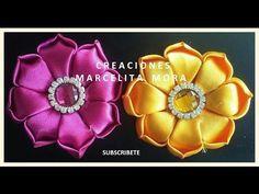Moño boutique y flores de listón delgado . - YouTube