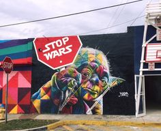 Stop Wars - By Eduardo Kobra at Art Basel in Wynwood, Miami.
