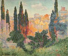 Cypress Trees at Cagnes, Henri Edmond Cross 1908