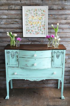 Chalky Finish Mint and Floral Buffet redone with Americana Decor Chalky Finish. #decoartprojects