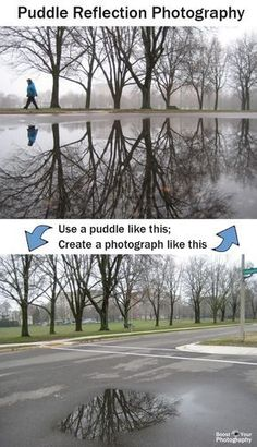 Puddle Reflection Photography - photography tips Reflection Photography, Photography Basics, Photography Lessons, Photoshop Photography, Camera Photography, Photography Projects, Photography Tutorials, Love Photography, Creative Photography