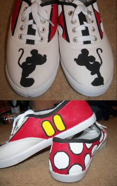 Mickey Mouse Painted Shoes