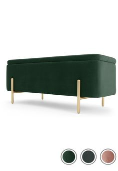 Asare upholstered storage bench, Pine Green and Brass Hallway Storage Bench, Storage Chair, Storage Trunk, Upholstered Storage Bench, Emerald Bedroom, Bedroom Green, Bench With Back, Bed End, Colourful Living Room