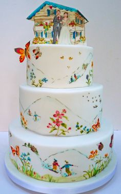 A Hand-Painted, Ikat-Print Wedding Cake: Sleek, round tiers are hand-pained with a chic ikat pattern and crowned with a laser-cut topper. Description from indulgy.com. I searched for this on bing.com/images