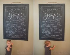 "Our Gratefulness Chalkboard/ the creative mama/ encourage your family to count blessings a bit more purposefully this November with a ""We are Grateful..."" chalkboard (Stacey)"