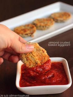 Vegetarian Almond Crusted Baked Eggplant - Finger food with tons of protein! Vegan Appetizers, Vegan Snacks, Healthy Snacks, Vegan Food, Holiday Appetizers, Gluten Free Recipes, Vegetarian Recipes, Healthy Recipes, Pescatarian Recipes