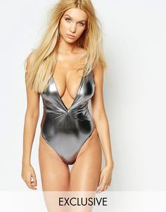 7910a2d1d1 Wolf   Whistle Metallic Twist Swimsuit B C - E F Cup at asos.com