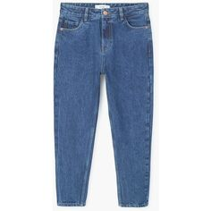 MANGO Relaxed cropped Mom jeans ($60) ❤ liked on Polyvore featuring jeans, denim, high waisted denim jeans, highwaist jeans, high rise jeans, blue denim jeans and high waisted cropped jeans