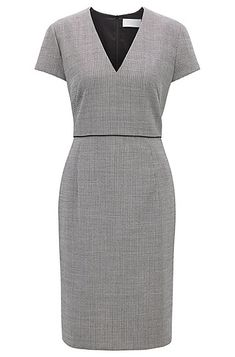 A day dress in a micro-pattern fabric with virgin wool by BOSS Womenswear.   This elegantly cut short-sleeved design features a deep V neckline and slender contrast piping to accentuate the waist.   Finished with a rear vent, this adaptable piece pairs effortlessly with sleek BOSS footwear.