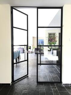 Glass French Doors, Glass Door, Steel Doors And Windows, House Front Door, Iron Doors, Internal Doors, Small Space Living, Interior And Exterior, New Homes
