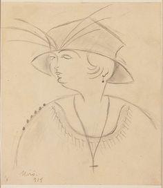 Lady with Hat Artist: Joan Miró (Spanish, Barcelona 1893–1983 Palma de Mallorca)…