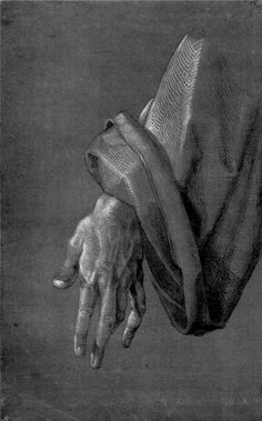 "Albrecht Dürer Study on ""Heller Altarpiece"", Left Hand of an Apostle, Northern Renaissance. Albrecht Durer, Fabric Drawing, Painting & Drawing, Drapery Drawing, Life Drawing, Figure Drawing, Drawing Hands, Renaissance Kunst, Jan Van Eyck"
