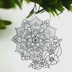 Clean floral mandala artwork design black on white