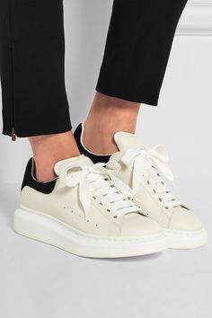 Alexander McQueen | Leather and suede exaggerated-sole sneakers | NET-A-PORTER.COM
