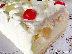 Prajitura diplomat Romanian Desserts, Vanilla Cake, Sweet Tooth, Cheesecake, Food And Drink, Deserts, Pineapple, Recipes, Deutsch