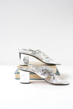 Size 7 Vintage 1960's  Silver Heels Mod  by PomegranateVintage, $35.00