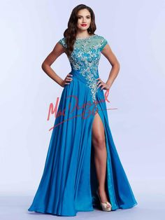 Ocean Blue Prom Dress with Embellished Bodice | Mac Duggal 64947M