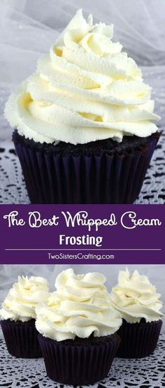 The Best Whipped Cream Frosting - light and airy and delicious and it tastes just like Whipped Cream. But unlike regular Whipping Cream, this frosting holds its shape, lasts for days and can be used to frost both cake and cupcakes. And it is so easy to ma Cupcake Recipes, Baking Recipes, Cupcake Cakes, Dessert Recipes, Dessert Food, Cupcake Icing Recipe, Milk Dessert, Mousse Dessert, Banana Dessert