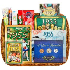 60th Birthday or 60th Anniversary Gift Basket with Coins for 1955