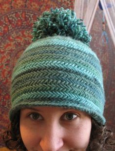 Free Knitting Pattern for Herringbone Hat - Beanie with stretchy herringbone stitch. 3 sizes. Designed by Kelly McClure. Worsted weight.