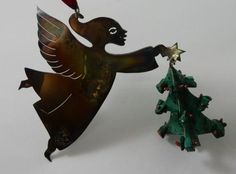 Stunning Vintage Emilia Castillo Sterling Silver Angel in Flight With Patinated Green Malachite/Coral Decorated Christmas Tree,Tree Ornament. Condition: Excellent Vintage Condition ; Needs Polishing.