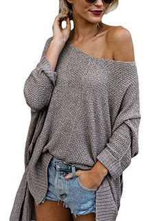 b78b8587b0a0 HOTAPEI Womens Winter Oversized Off Shoulder Loose Knit High low Slit Side  V Neck Pullover Sweaters