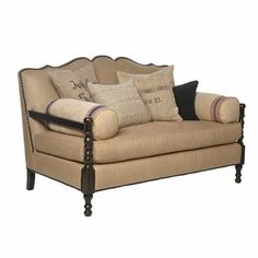 Burlap sofa with French pillow accents. Love the look of the dark wood!