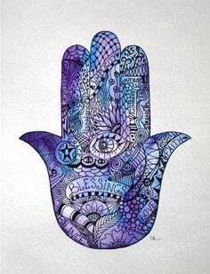 Watercolor art, Zentangle, watercolor, Hamsa Hand, hand painted, Original art, Zentangle art, Hamsa