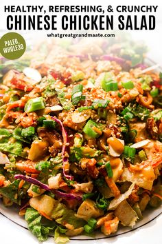 Paleo and Whole30 Chinese chicken salad with the most flavorful, naturally sweet sesame dressing! This is packed with all my favorite refreshing veggies, with yummy and crunchy bites from sliced almonds. It's naturally sweetened, SO much healthier and tastier than any restaurant version, and it only takes 15 minutes to make if you have leftover cooked chicken! Paleo Salad Recipes, Real Food Recipes, Chicken Salad Recipes, Healthy Recipes, Asian Recipes, Ethnic Recipes, How To Cook Chicken, Cooked Chicken, Paleo Salad Dressing