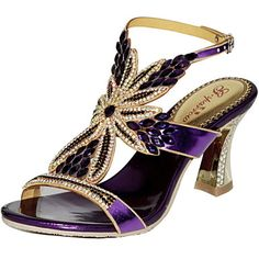 Women's+Shoes+Leather+Chunky+Heel+Heels+Sandals+Party+&+Evening+/+Dress+/+Casual+Purple+/+Gold+/+Champagne+–+USD+$+52.19
