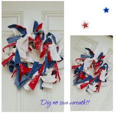 Diy no sew wreath@ https://m.facebook.com/Mariettascreationsandtidbits