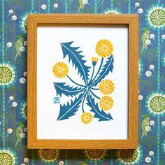 Yoko Isami Dandelion Print from @howkapow #linocut #blockprint #block_print #floral #flowers #print #walls #decor #walls #yellow #nursery #kids #apt #apartment #small_space #bathroom