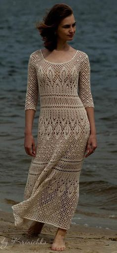 ivory crochet dress by Krinichka on Etsy