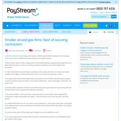 Smaller oil and gas firms 'best at securing contractors  http://www.paystream.co.uk/Umbrella-company-news/Smaller-oil-and-gas-firms-best-at-securing-contractors.aspx?aid=801662825&cid=438036712